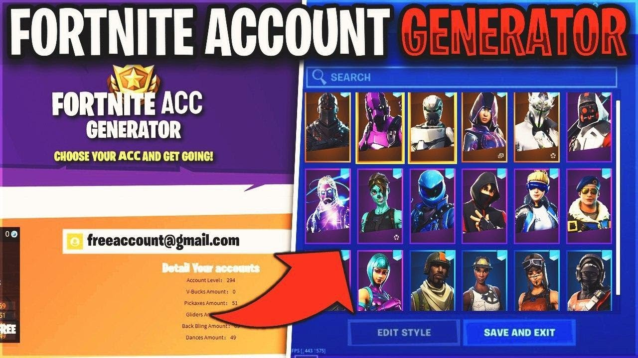 Free Fortnite account generator with skins 2020